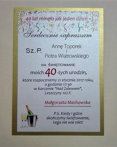 Zaproszenie Urodzinowe Weselnawyprawkapl