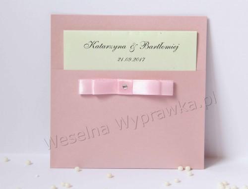Zaproszenie Na ślub Z Kokardką Pink Weselnawyprawkapl